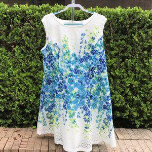 Sandra Darren Blue White Flower Lace Dress Sz 18W